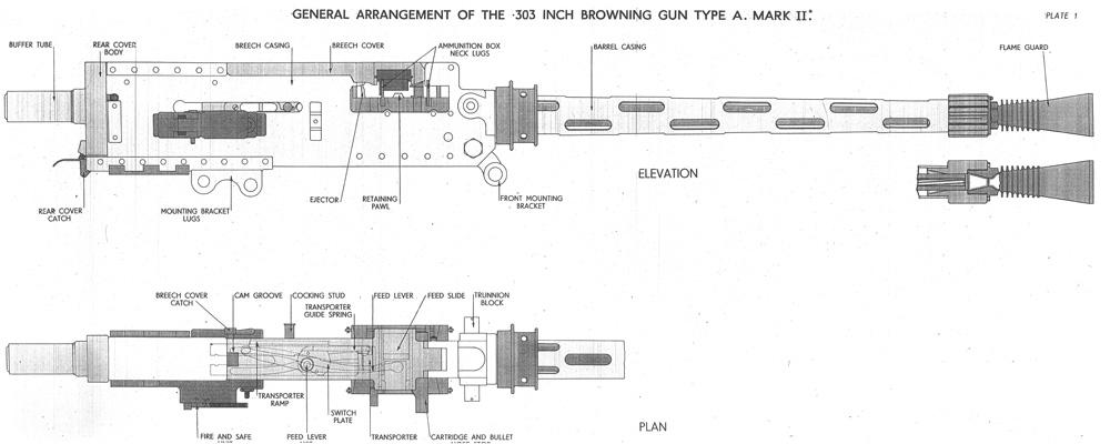 Gun Engineering Drawings Browning 303 mk ii Machine Gun