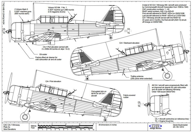 Db design bureau drawings of the cac wirraway aircraft - Difference between port side and starboard ...