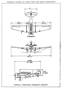Overall dimensions of CAC Wirraway Mk 1 aircraft