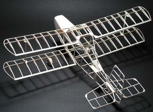 Jiro Sugimoto's peanut scale model of the Amethyst Falcon, from a plan designed by Derek Buckmaster